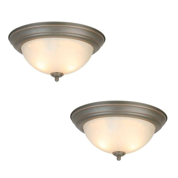 Commercial Electric 2-Light Oil Rubbed Bronze Flushmount (2-Pack)-EFG8012A/ORB - The Home Depot