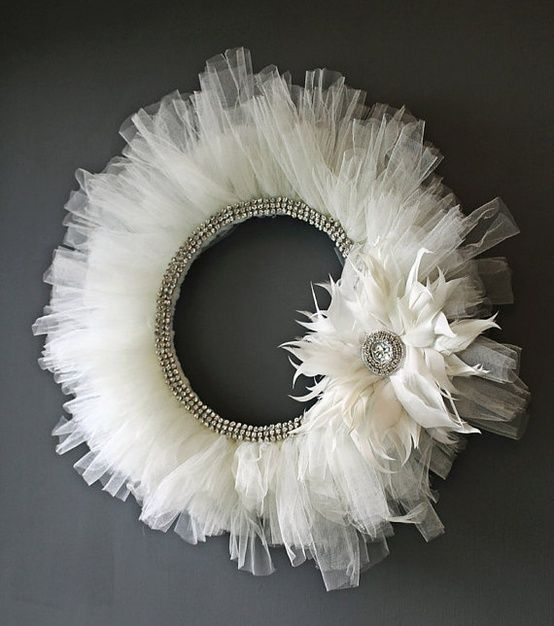 DIY wreath. I will buy a dollar tree tutu in a seasonal color, place in on a round hard surface, add a cola can tab on back for hook and hang on my front door. {girl}