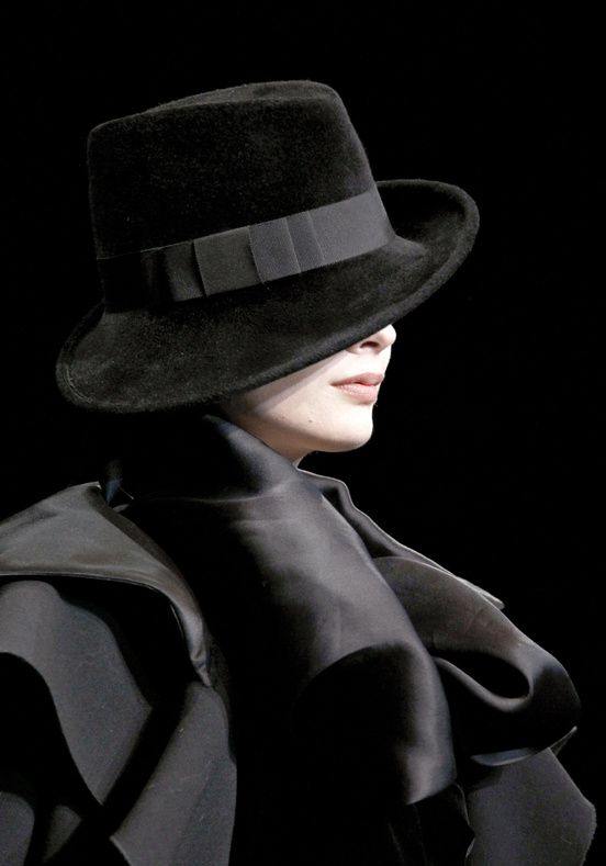 """Chapeau Giorgio Armani  ~ ~   """"What a strange power there is in clothing.""""  Isaac Bashavis Singer ~ ~ ~"""