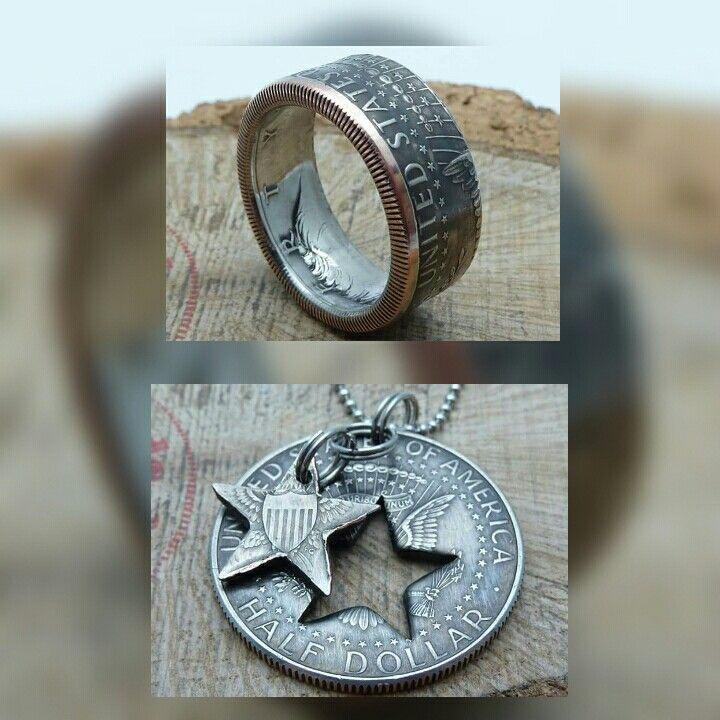 www.muenzenringe.de Einzigartige Schmuckstücke aus halben US-Dollern 😀 #ring #coin #coinring #dollar #usdollar #usa #halfdollar #amerika #staaten #necklace #breclet #jewelry #silver #silvercoin #schmuck #clam #schmuckstück #handmade #upcycle #upcycling #dawanda #eyecatcher #trump #perfekt #style #fashion #beauty