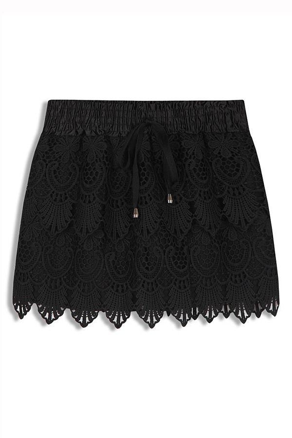 Black Rose Crochet Lace Drawstring Skort [FJCE0133] - PersunMall.com