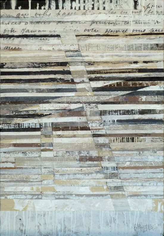 "CROSSING BOUNDARIES 41""x 28.5 mixed media on wood board / Brenda Holzke"