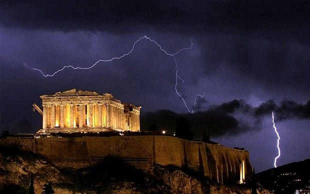 The ancient Greek Parthenon temple, atop the Acropolis hill overlooking Athens