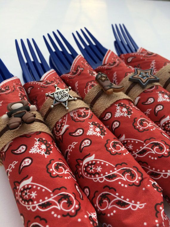 Western Theme Napkin Rings: 10 Party Napkin by MadHatterPartyBox