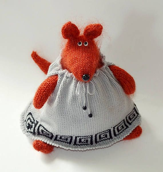 Red mouse in dress mouse figurine knit mouse pretend play