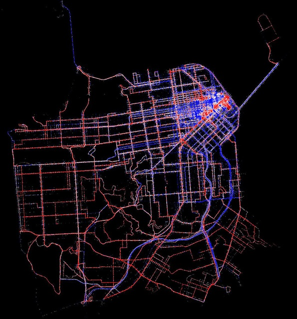 Muni transit speeds vs. taxi speeds by location by Eric Fischer, via Flickr