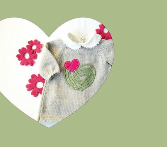 Knitted baby dress with felt hearts and little by tenderblue, $80.00
