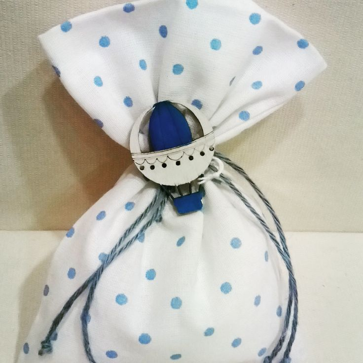 #polkadots #pouch for #baptsim with #wooden #airballoon