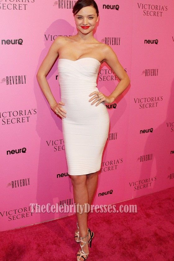 Miranda Kerr White Strapless Bandage Dress Cocktail Dresses - TheCelebrityDresses