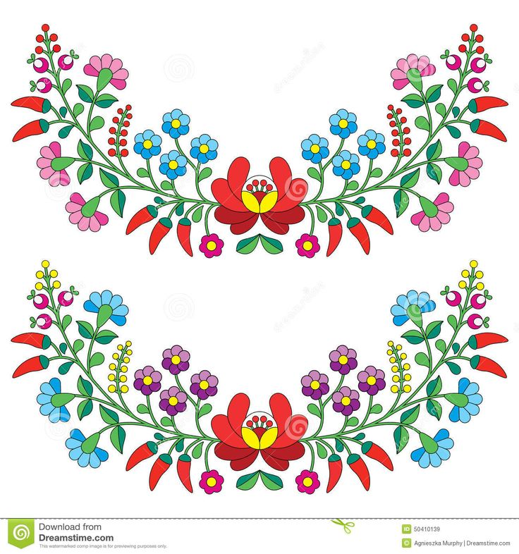 Hungarian floral folk pattern kaloscai embroidery with