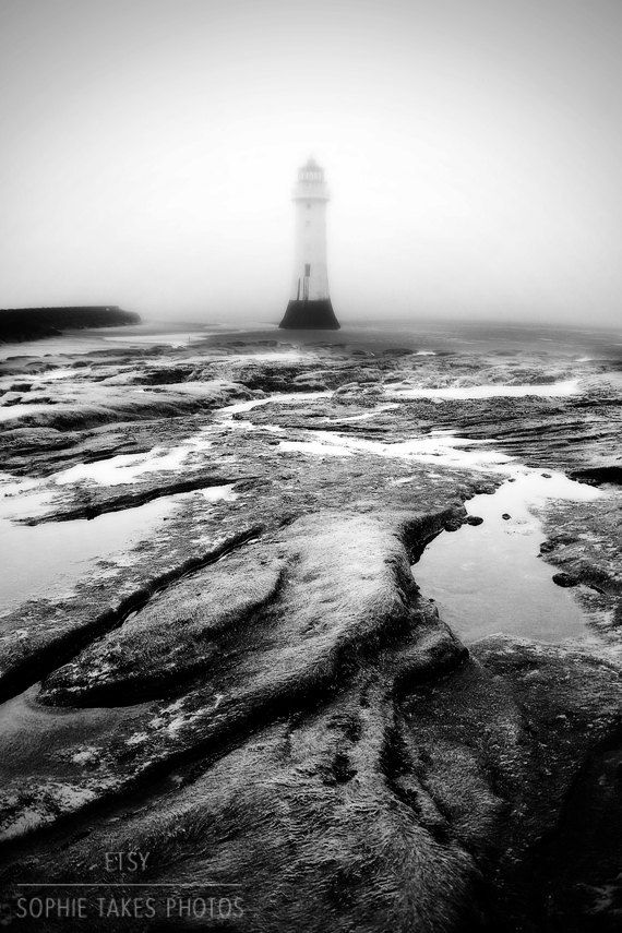 Lighthouse print lighthouse canvas. Black and by SophieTakesPhotos