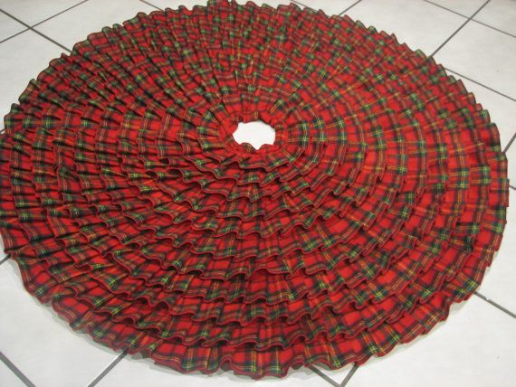Traditional Ruffled Christmas Tree Skirt In Red And Green Plaid Flannel Ribbon On Etsy 13400