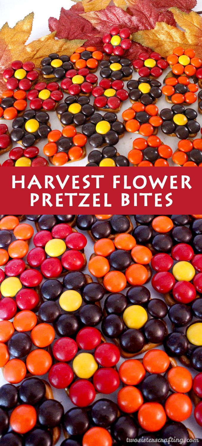These Harvest Flower Pretzel Bites make for a sweet and salty Thanksgiving treat! We're a sucker for pretzel anything!