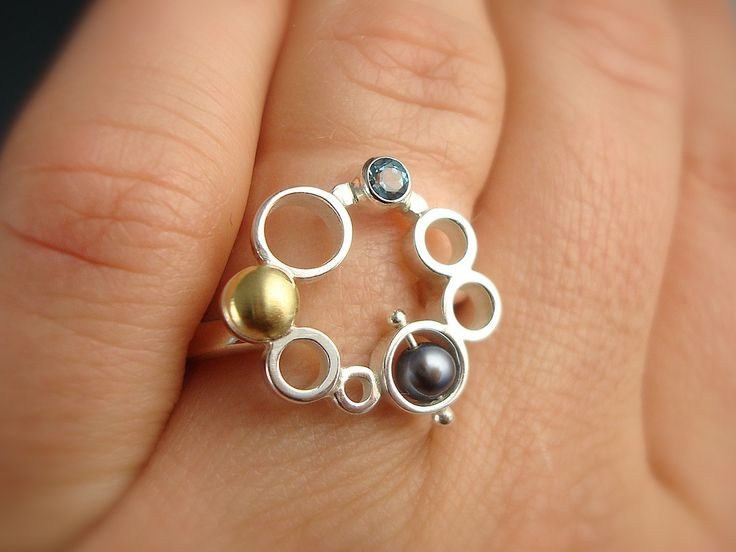 Ring-a-Day : February 8, 2010. sterling silver, 18k gold, blue topaz, pearl. I made this ring to match my other Bubble items www.flickr.com/photos/daniellemillerjewelry/2849072762/in...
