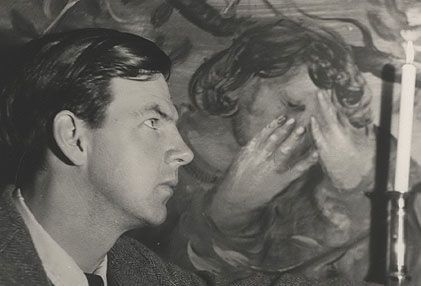 Arthur Boyd in front of his Mural. Who is this in the picture? 1950.