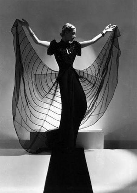 Strangely compelling, Photography - Horst P. Horst SC | SC on Facebook 30s 40s war era long evening gown black sheer movie star glamor designer print ad
