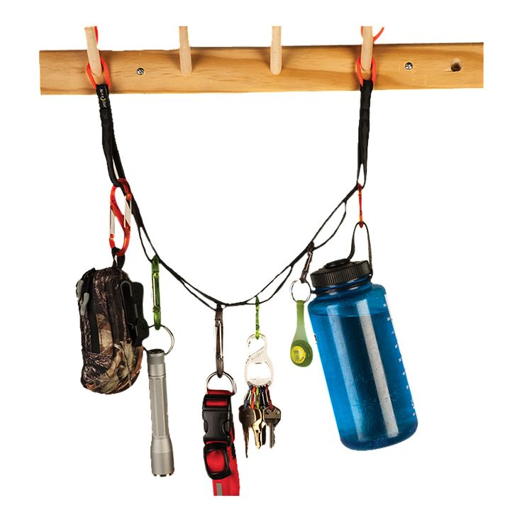 Whether you're organizing your tent, garage, closet or rec room, our hang-anywhere, hang-anything Gear Line will keep your tools, sporting gear, pet collars, clothing, and accessories of all kinds lined up and tidy. And it's so colorful and smart, it almost makes the job fun.