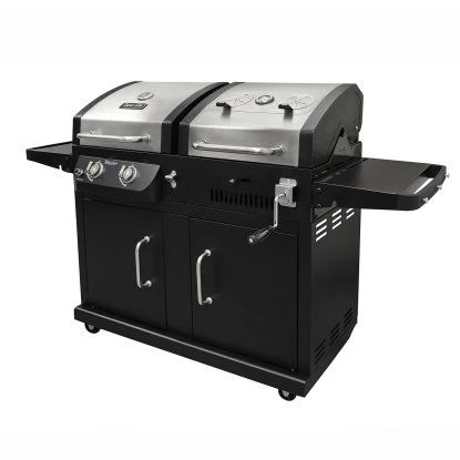 Dyna-Glo DGB730SNB-D 2-Burner Stainless Steel Gas and Charcoal BBQ Grill