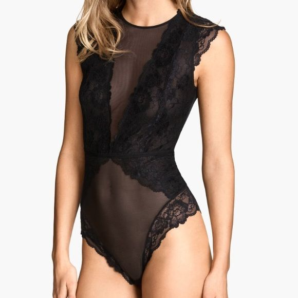 Lace bodysuit Black lace bodysuit from H&M, size 4 which is the smallest size they carry. Never worn, NWT. Price is firm, no trades. H&M Intimates & Sleepwear