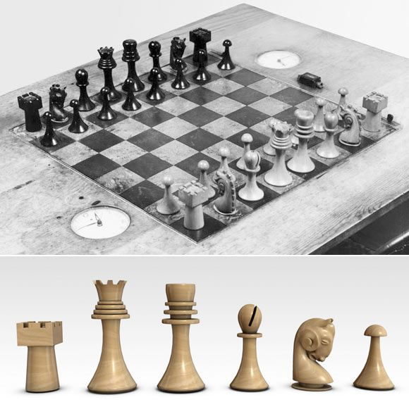 Buenos Aires chess set. By Marcel Duchamp, 1918