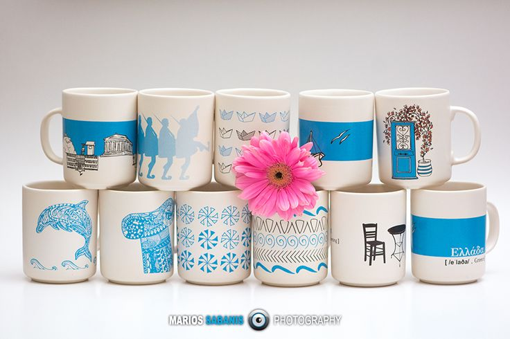 A collection of ceramic mugs with fresh motifs for your home! #ceramic #blue #white #stoneware #mug #houseWare #ploosDesign Contact us: sales@ploosdesign