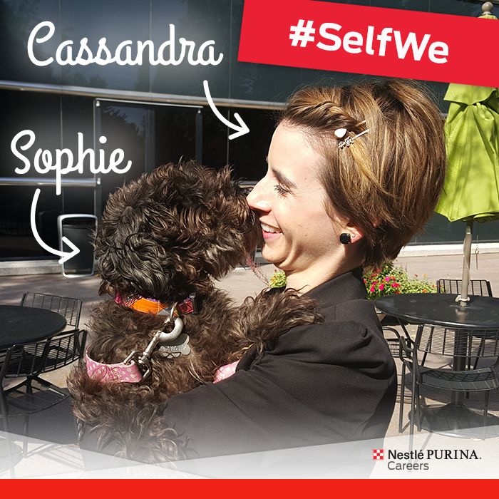 #PetsAtWork make every day better. Cassandra, a member of our Creative Communications & Design department, CheckMark, cozies up to her pup Sophie during an outdoor lunch break. http://puri.na/petsatworkblog