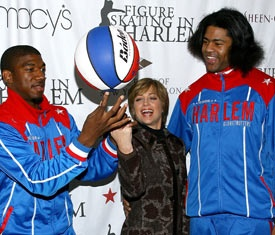 Dorothy Hamill with the Harlem Globetrotters.