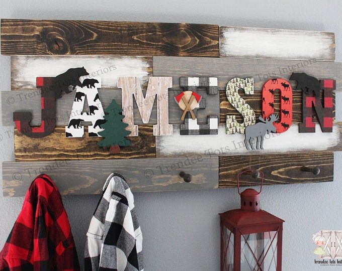 Buffalo Plaid Nursery Wall Decor