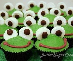 Frog cupcakes. I made these last night for Leap Day and they turned out so cute! I changed the smiles to pull and peal licorice to make it easier :)
