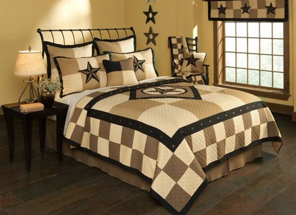 Donna Sharp Texas Star Quilt ... my actual quilt is called Texas Pride and has the stars without the checker pattern.  It's more masculine and deeper in color with black, dark tan, and light tan ... can't find the Texas Pride on line anymore.