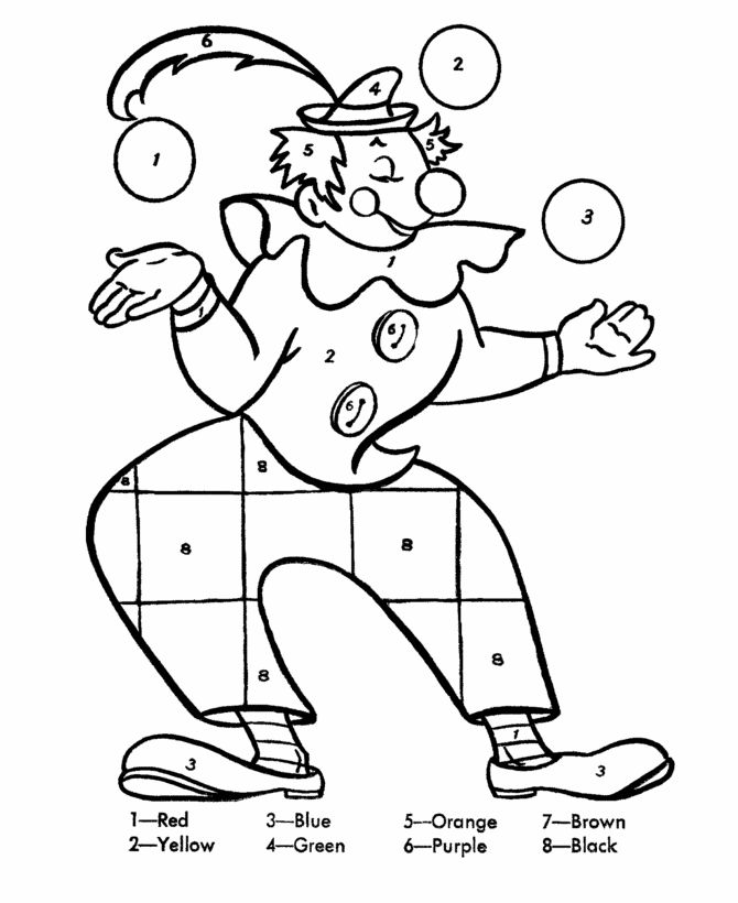 Color by numbers page clown juggling balls