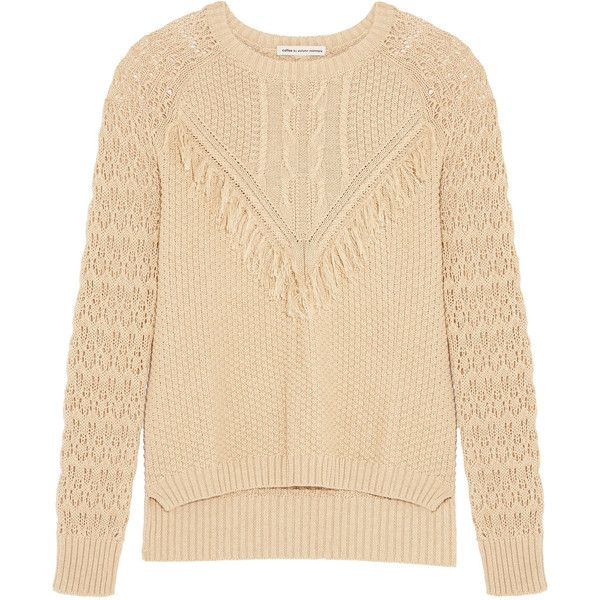 Autumn Cashmere Fringed open-knit cotton sweater (33.795 HUF) ❤ liked on Polyvore featuring tops, sweaters, sand, fringe top, beige sweater, autumn cashmere sweater, cotton knit tops and cotton knit sweaters