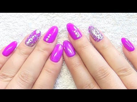 Gel Nails Infill Purple & Silver Stamping Nail Design - (More info on: http://LIFEWAYSVILLAGE.COM/coupons/gel-nails-infill-purple-silver-stamping-nail-design/)