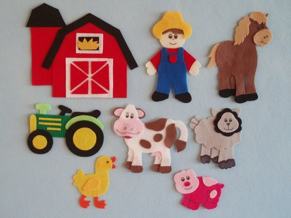 Old Mcdonald S Farm Felt Board Story Felt Farm Set Flannel Etsy Felt Board Felt Board Stories Felt Toys