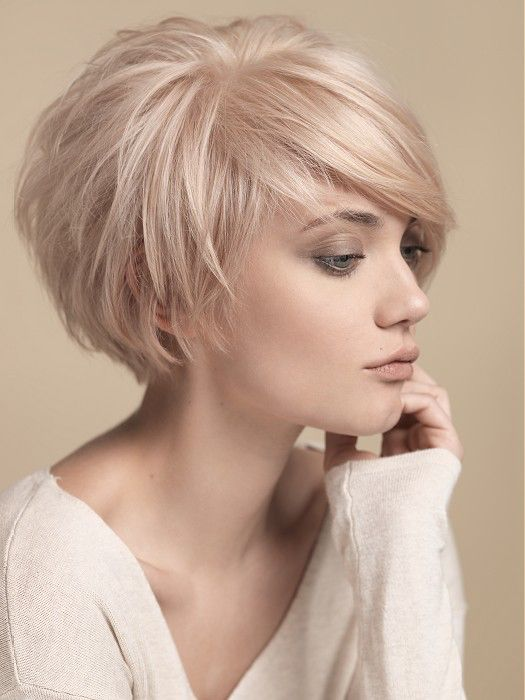 Short Round Layers Side Swept Bangs Short Cropped