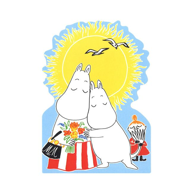 Moomin ムーミン TOVE100 ダイカットポストカード(ミイ/ムーミンママとムーミンとミイ)   北欧雑貨 北欧デザインに限定した北欧雑貨通販サイト