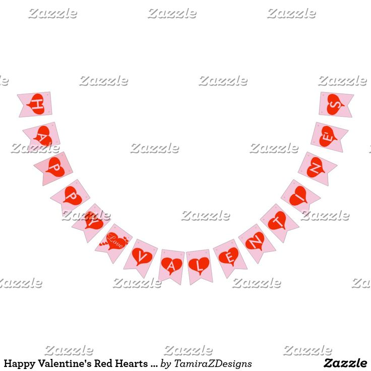 Happy Valentine's Red Hearts Pink Outdoor Bunting Banner.  Large bunting banner with sturdy material for use outdoors or indoors.   Original Graphic Art design by TamiraZDesign.  www.zazzle.com/tamirazdesigns