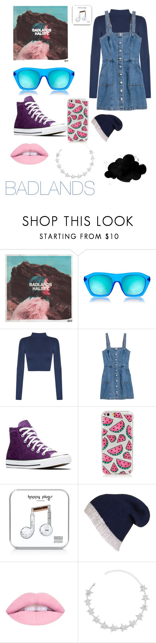 """halsey badlands inspired"" by ilanaszarf ❤ liked on Polyvore featuring Baker & Taylor, Le Specs, WearAll, Converse, Happy Plugs and Black"
