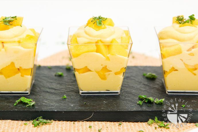 The richness of whipped coconut cream, combined with mango puree, layered in between freshly diced mango pieces, and topped with a small amount of finely chopped fresh mint makes this Mango Mousse Parfait irresistible!