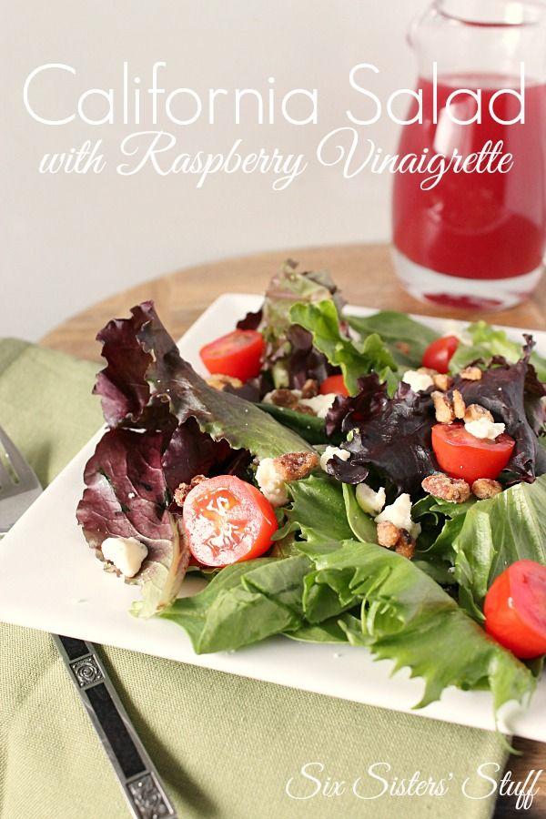 A winner!  California Salad with Raspberry Vinaigrette Dressing on MyRecipeMagic.com... I added chopped cucumbers to it.  I used Bonne Maman Raspberry jam to make the dressing.