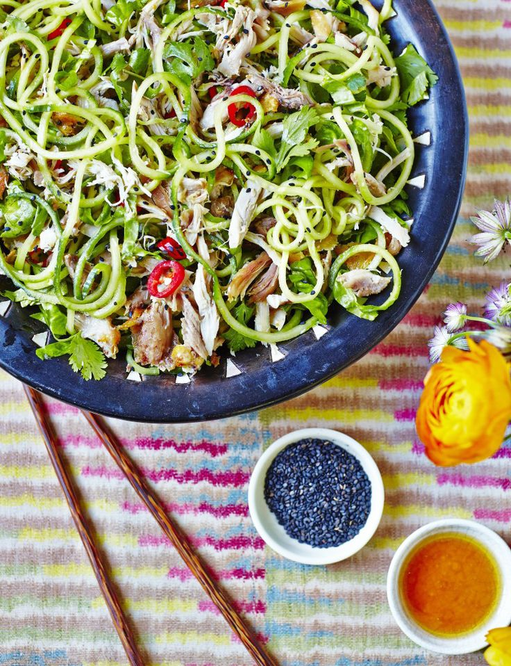 Sesame Chicken Salad With Cucumber Noodles