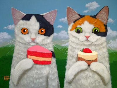 CAKES AND KITTENS Art Print calico cats and cupcakes!