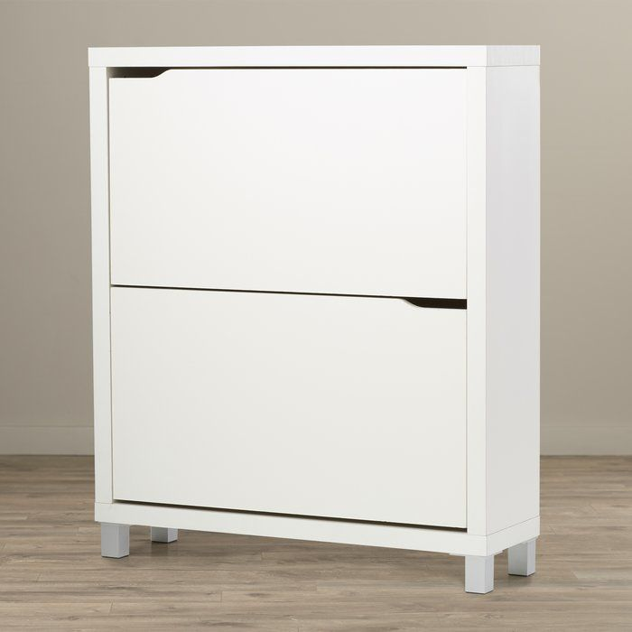 Details About Shoe Storage Cabinet Cupboard With 2 Storage Drawers