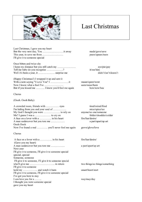 Song Worksheet: Last Christmas by Wham