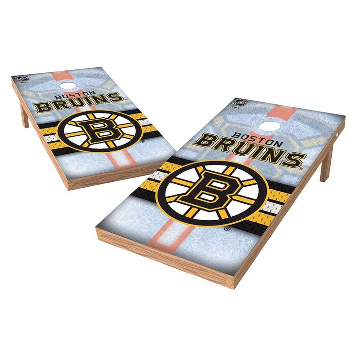 NHL Wild Sports Shield Cornhole Bag Toss Set - 2x4 ft. - Boston Bruins
