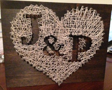 Similar Items like Heart Nail String Art with Personalized Initial / …