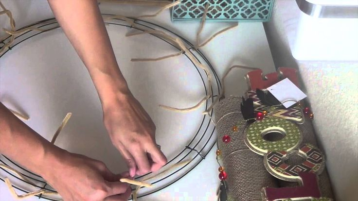 Burlap Wreath Tutorial    This is video 1.  Video 2 shows how to add the colored ribbon and sign.