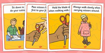 This is a scissor safety display posters. when children are using scissors for the first time especially in kindergarten they should be taught how to use them safely. If not careful, accidents related to scissors can be grave. Thus, from beginning children can be taught the correct ways of using it. The same poster can also be created as flash cards and children can discuss those flash cards with peers and teachers.