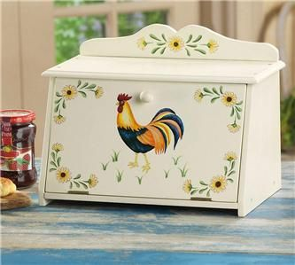 sunflower decor for kitchen | Counry Kitchen Rooster with Sunflowers Decor Bread Box New | eBay