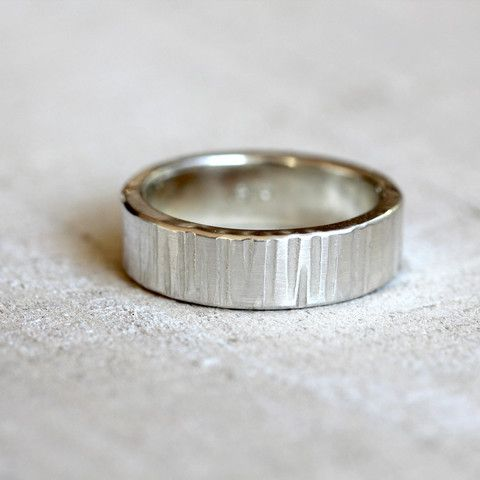 Sterling silver tree bark wedding ring set. I have applied by hand the wood grain pattern that adorns these wedding rings. Organic and completely random pattern makes each ring unique and one of a kin